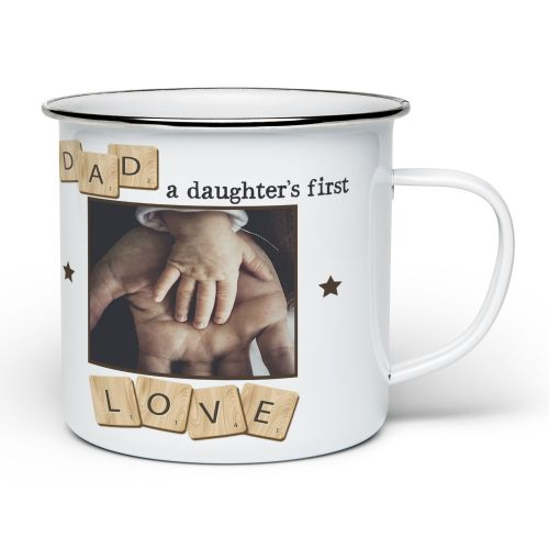 Personalised Dad, A Daughter's First Love Novelty Enamel Mug - White